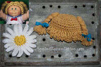 Cabbage Patch Kid Crochet Hat Wig  DK Blonde Braids Infant Toddler Adult CPK