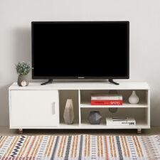 Modern White TV Unit Stand Cabinet 1 Door 2 Shelves Entertainment Media Storage