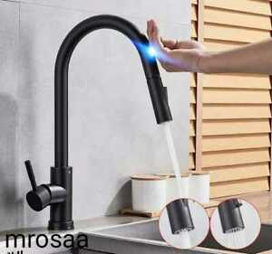 Pull Out Black Sensor Kitchen Faucets Stainless Steel Smart Induction Mixed Tap