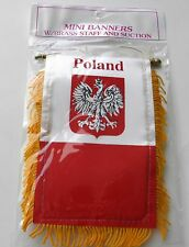 OLD POLAND MINI POLYESTER INTERNATIONAL FLAG BANNER 3 X 5 INCHES