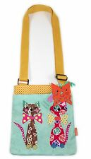 Santoro Coated Flat Cross Body Bag Cats in Bow Ties Design Zipped Closure NEW