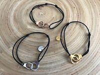Bracelet menotte acier cordon noir réglable élastique tendance
