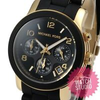New Michael Kors MK5191 Runway Black And Gold Ladies Watch 2 Years Warranty