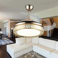 "42"" Remote Control LED Ceiling Fan Light 3Color Change Retractable Blades"