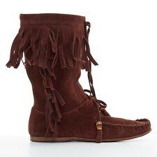 GUCCI brown suede bamboo tassel fringe trim boho mocassin flat boot shoe EU39