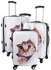Carbon Hartschalenkoffer Reise Koffer Trolley Set Bordgepäck Motiv Baby Katze