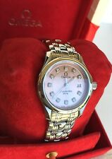 OMEGA WATCH LADIES DIAMOND DIAL PINK SEAMASTER DT JUST,WARRANT(2 )YEARS,= 8122