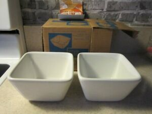 The Pampered Chef Simple Additions Set Of 2 Small White Square Bowls #1910 NEW