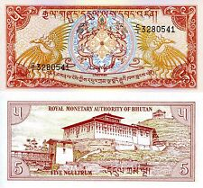 BHUTAN 5 Ngultrum Banknote World Paper Money UNC Currency Pick p14a Dragons Bill
