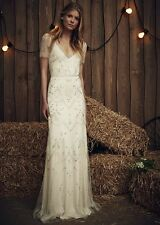 JENNY PACKHAM Ivory White Susanna Beaded Tulle Mesh Wedding Gown Dress 12 US 8