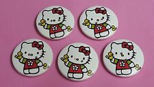 (1) 5 Stück Knopf Knöpfe Holz 28 mm 2,8 cm Hello Kitty Katze Kätzchen bunt
