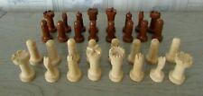 32 Pièces en bois verni pour jeu d'échecs / Vendu sans plateau / Voir dimensions