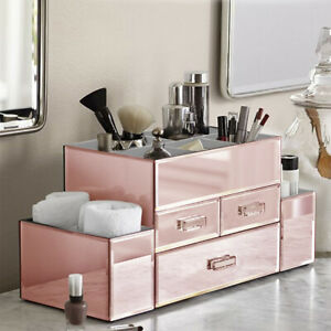 NEW! DELUXE MAKEUP ORGANIZER - MIRROR PANEL TIERED THREE DRAWER COSMETIC DISPLAY