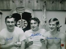 JOHNNY BUCYK EDDIE JOHNSTON BOBBY ORR AUTO BOSTON BRUINS 16X20 PHOTO GNR COA