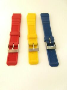 Rubber Sports Diving 18mm Watch Strap Band 3 Colours Stainless Steel Buckle