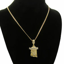 Mens and Womens Jesus Cz Pendant With Gold Plated stainless steel Cuban Necklace