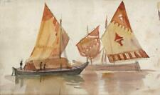 EMILY HOWARD Small Watercolour Painting BOATS AT VENICE ITALY c1878 - GRAND TOUR