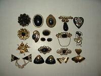 18 Vintage Victorian Goldtone & Black Brooches-Earrings-Shoe Clips-Pendant Lot