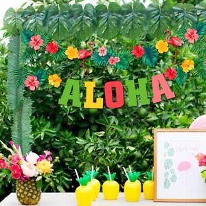 Hawaiian Tropical Bunting Bunner Garland Flower Leaf Summer Beach Party Decor
