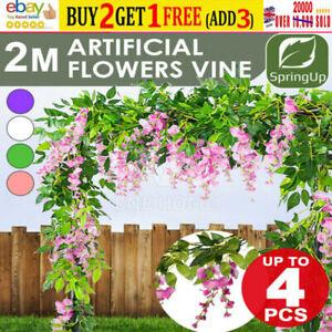 1-5X7FT Artificial Wisteria Vine Garland Plant Foliage Trailing Flower Home