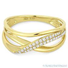 Gold Right-Hand Overlap Loop Statement Ring 0.15ct Round Cut Diamond 14k Yellow