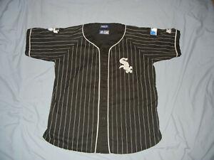 VTG 90's Starter Chicago WHITE SOX jersey Blk stitched pin stripe Hip Hop MLB