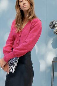 La Redoute Fuschia Pink Cardigan Size Small 8/10 Oversized Fluffy Soft Statement