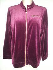 NWOT RALPH LAUREN Womens Velour Jogging Track Jacket Coat Sweatshirt 1X Purple