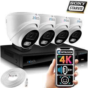 5MP & 4K CCTV System 4x Face AI Sony Starvis Audio Recording IP67 PoE IP Cameras
