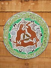 Hand Carved Made Wooden Celtic Circle of Hares Wall Art Hanging Plaque Sign