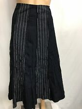 JIGSAW SIZE 10 BLACK AND WHITE STRIPED PANELED A-LINE SKIRT