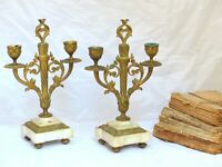 OMG Shabby Pair French Antique Candlestick Bronze Marble Candelabra Late 19TH