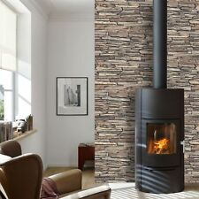 3D EFFECT BROWN SLATE STONE BRICK WALL DESIGNER VINYL WALLPAPER MURIVA J87205
