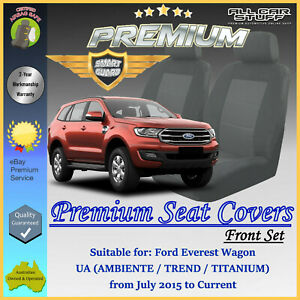 Premium Grey Front Seat Covers for Ford Everest UA Wagon: 07/2015 to Current