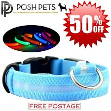 LED DOG Pet COLLAR High Visibility LIGHT UP Nylon Flashing Safety Adjustable Tag