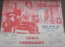 1964 PHILIPPINES Wall Calendar RIZAL  KEROSENE by SHELL feat NIDA BLANCA