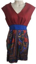 Flying Tomato Anthropologie Floral Dress Orange Blue Small Sheath Blue Elastic