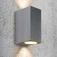 Modern Matt Stainless Steel Rectangular Double Up & Down Outdoor Wall Light 63AB