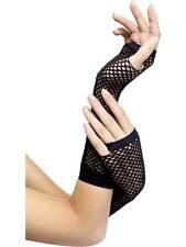 Ladies 80s Fingerless Long Black Fishnet Gloves