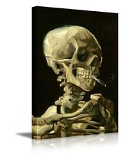 """Skull of a Skeleton with Burning Cigarette -Canvas Prints Wall Art - 24"""" x 36"""""""