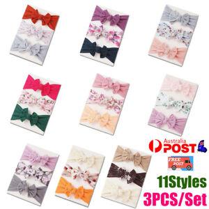 3pcs/Set Baby Girl Infant Toddler Headband Wrap Top Knot Soft Single Bow Turban