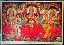 "India vintage poster MAHALAXMI DIWALI PUJAN 10"" x 14"""