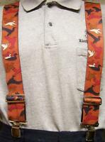 """Suspenders 2""""x48"""" FULLY Elastic Animal Duck Silhouettes NEW Brown"""