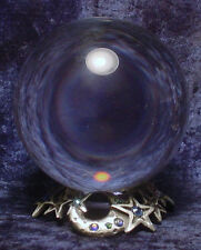 100mm Clear Crystal Ball AND Pewter Celestial Star & Moon Stand with Crystals