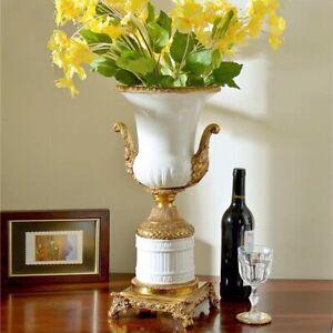 52cm Chinoiserie  Chinese Porcelain Peacock Brass Urn Vase Pot Ginger Jar