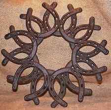 Horseshoe Wreath Cast Iron Horse Shoe Ranch Door Decor Stable Western  #308