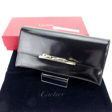 Cartier Wallet Purse Long Wallet Black Silver Woman Authentic Used Y4778