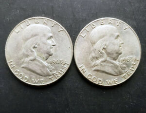 (2) Franklin Half Dollars - 1963-D - 90% Silver - Very Fine/Extremely Fine