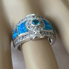 Vintage Jewellery Sterling Silver Ring Opals Sapphires Antique Deco Jewelry