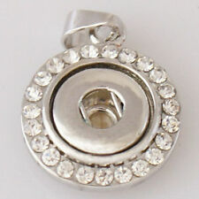 Rhinestone Necklace Charm Petite 12mm Fits Ginger Snaps Mini Snap Pendant